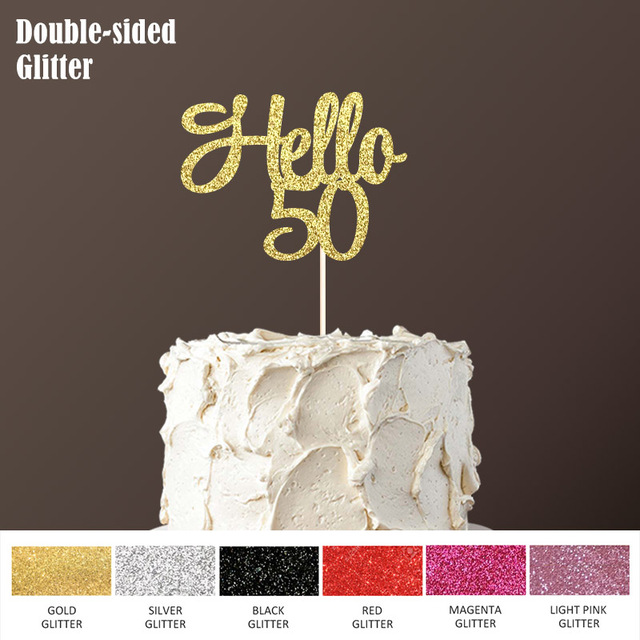 Hello 50 Cake Topper50th Birthday Party Decorations For Fifty Happy Double Sided Glitter Topper Accessory Supplies