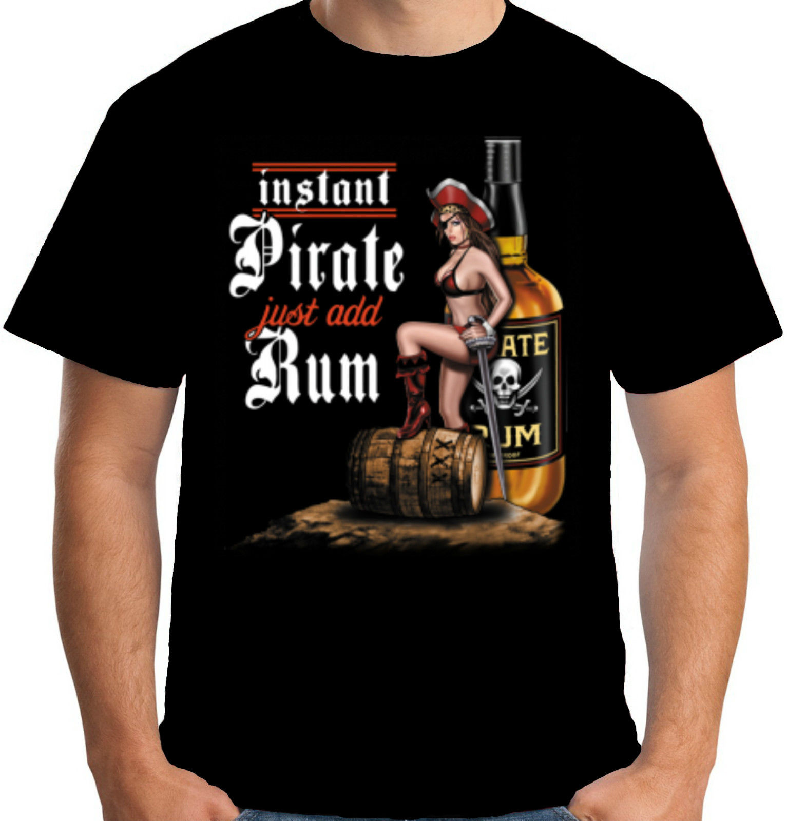 Velocitee Mens Instant Pirate T Shirt Evil Horror Rum Caribbean Drinking W13437 New Men Summer Tops Casuals Shirts