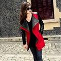 Высокое Качество Осень Winter2016 Новый В Черный Темно-Синий Красный Контрастность ИСКУССТВЕННАЯ Кожа Рукавом Молнии Шерстяные Пальто Для Девушку A745