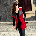 High Quality Autumn Winter2016 New In Black Navy Blue Red Contrast PU Leather Sleeve Zipper Woolen Coat For Woman A745