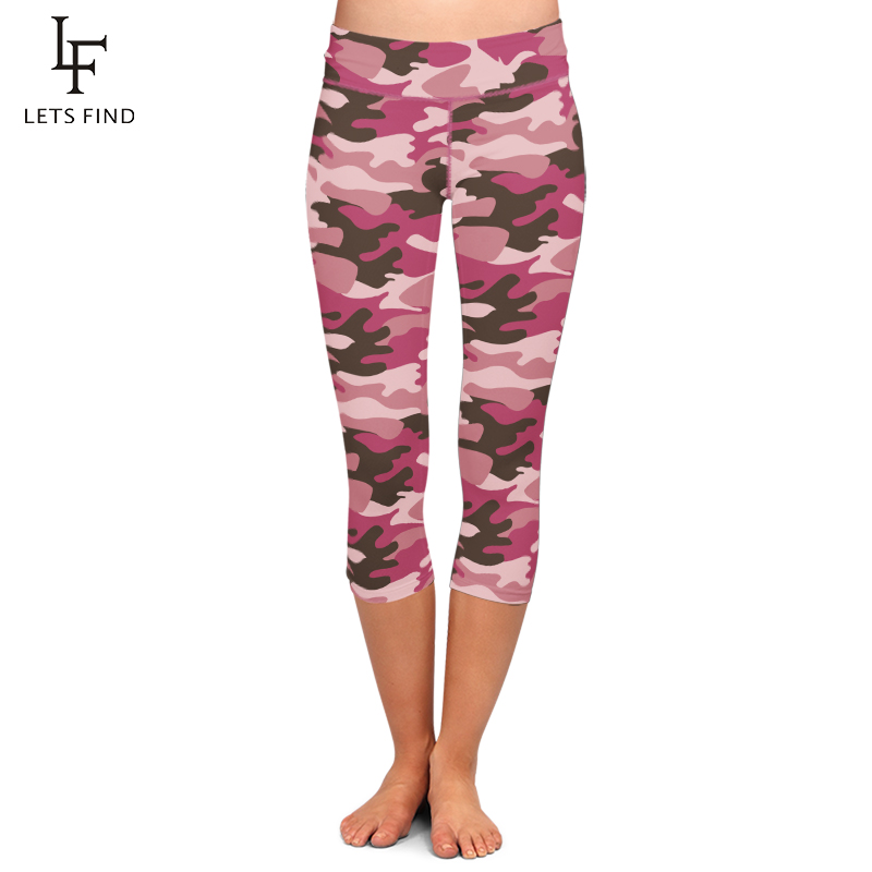 LETSFIND New High Waist Women Capri Leggings Pink Camouflage Print Plus Size Mid-Calf 3/4 Stretch Leggings Freee Shipping