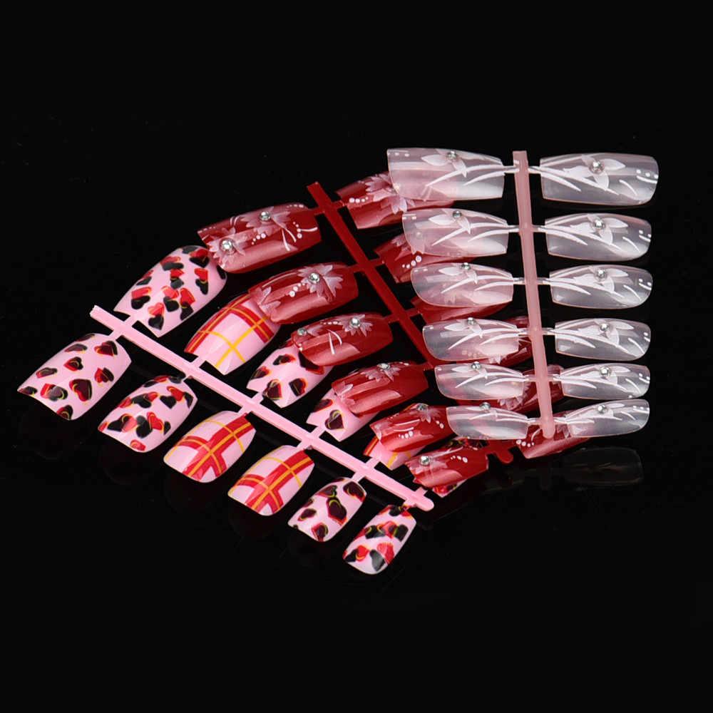 144 шт смешанный Набор накладных ногтей искусственные поддельные ногти искусство акриловый маникюр Гель unghie finte con colla faux ongle couleur