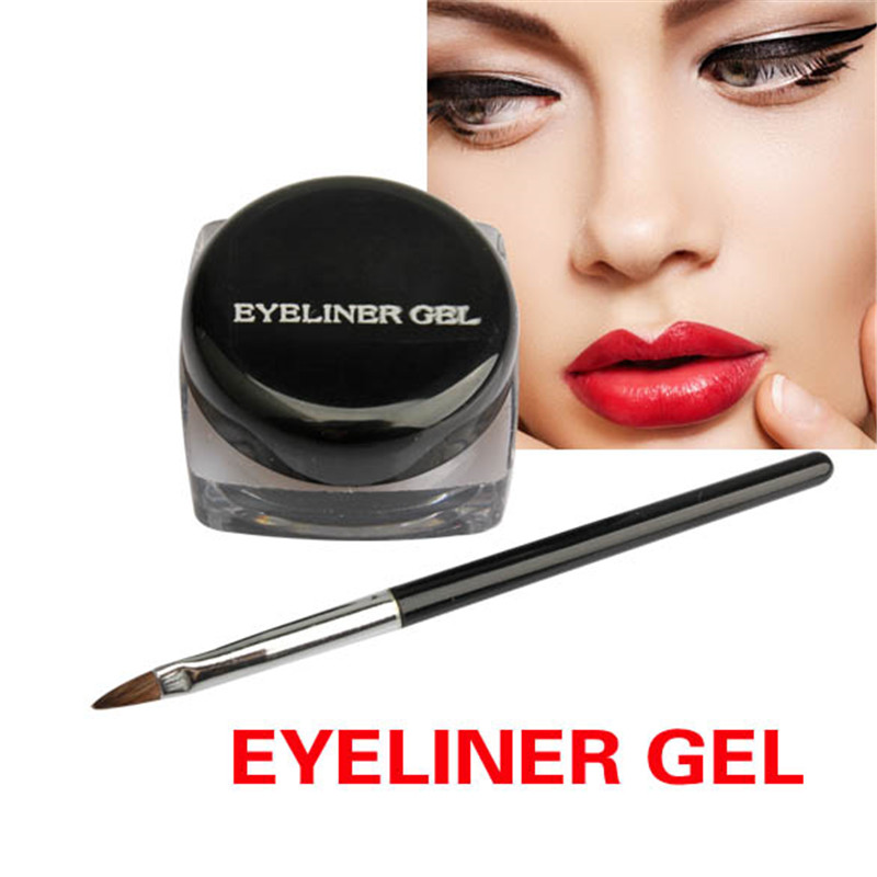 2018 New Hot Cosmetic Waterproof Eye Liner Pencil Make Up Black Liquid Eyeliner Shadow Gel Makeup With Brush Black