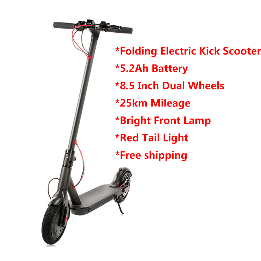 100% Original Electric Kick Scooter 5.2Ah Battery 8.5 Inch Dual Wheels Folding Electric Scooter With EU Plug 25km/H Hoverboard 2 wheels kick scooter 350w lithium battery electric scooter with seat max load 150kg for adults free shipping