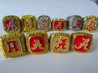 10 Pcs Alabama Crimson Tide NCAA Football Championship Ring Set Together Solid Souvenir Sport Men Fan