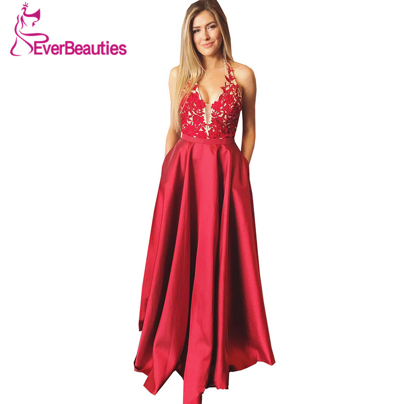 Red   Evening     Dress   2019 A-Line Halter Party   Dress   Long Backless Robe De Soiree V-Neck Formal Party Gowns