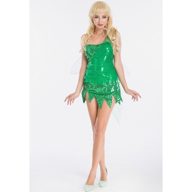 newest tinker bell cosplay tinkerbell dress green fairy cosplay adult costume halloween role play fancy dress