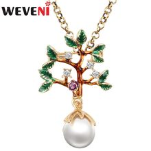 WEVENI Enamel Rhinestone Pearl Tree Flower Leaf Necklace Pendant Natural Plant Choker Crystal Alloy Jewelry For Women Girls Bulk(China)