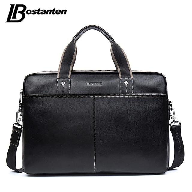 326bff890d BOSTANTEN Genuine Leather Bag Casual Men Handbags Cowhide Men Crossbody Bag  Men s Travel Bags Large Laptop Briefcase Bag for Man