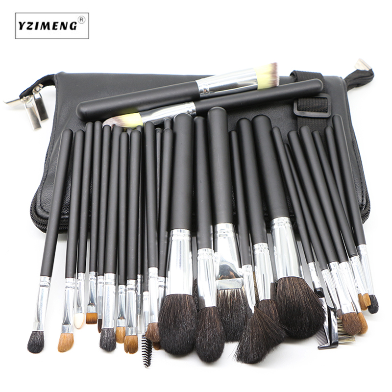 32Pcs/Set Professional Makeup Brushes Set For Women Fashion Soft Horse Hair Eyebrow Shadow Make Up Brush Set Kit with Pouch Bag msq professional 15 pcs makeup brushes set for women fashion soft face lip eyebrow shadow make up brush set kit pouch bag