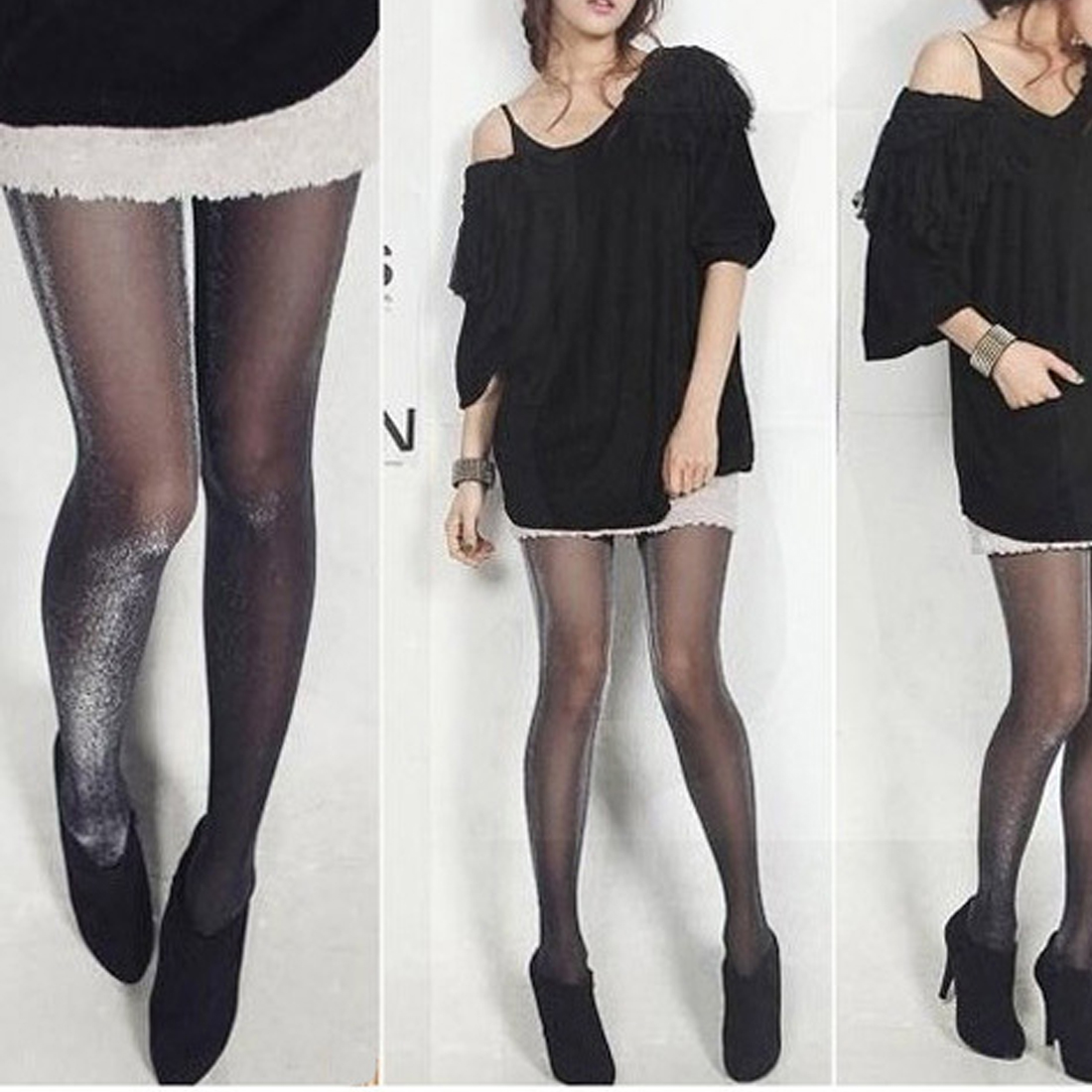 Buy 1 Pcs Shiny Pantyhose Glitter Stockings Womens Glossy Thin Tights Charming Slim Seamless Stay Collant Medias Hosiery