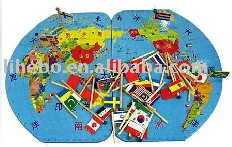 Large three dimensional map of the world map flags inserted flag large three dimensional map of the world map flags inserted flag toys wooden puzzles gumiabroncs Choice Image