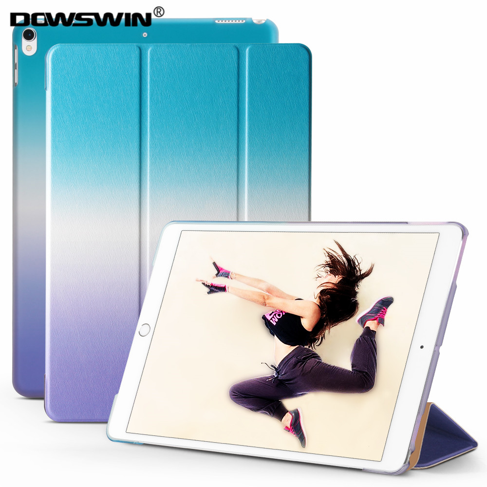 For ipad pro 10.5 case, DOWSWIN PU leather smart cover Rainbow gradient Color PC back cover for ipad pro 10.5 inch stand cases ultra slim smart case cover for apple ipad pro 12 9 2015 2016 12 9 pu leather tablet folding folio cases pc back cover