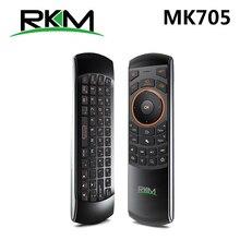 Rikomagic ratón de aire inalámbrico RKM MK705 2,4 GHz 3 en 1, teclado QWERTY IR remoto, Combo con batería recargable para Smart TV HTPC