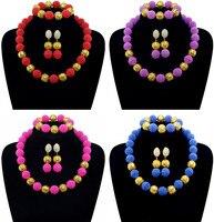 Fine jewelry set wedding nigeriano perline africani oro della sfera della perla di colore imitazione collana di perle orecchino della vite prigioniera spedizione gratuita