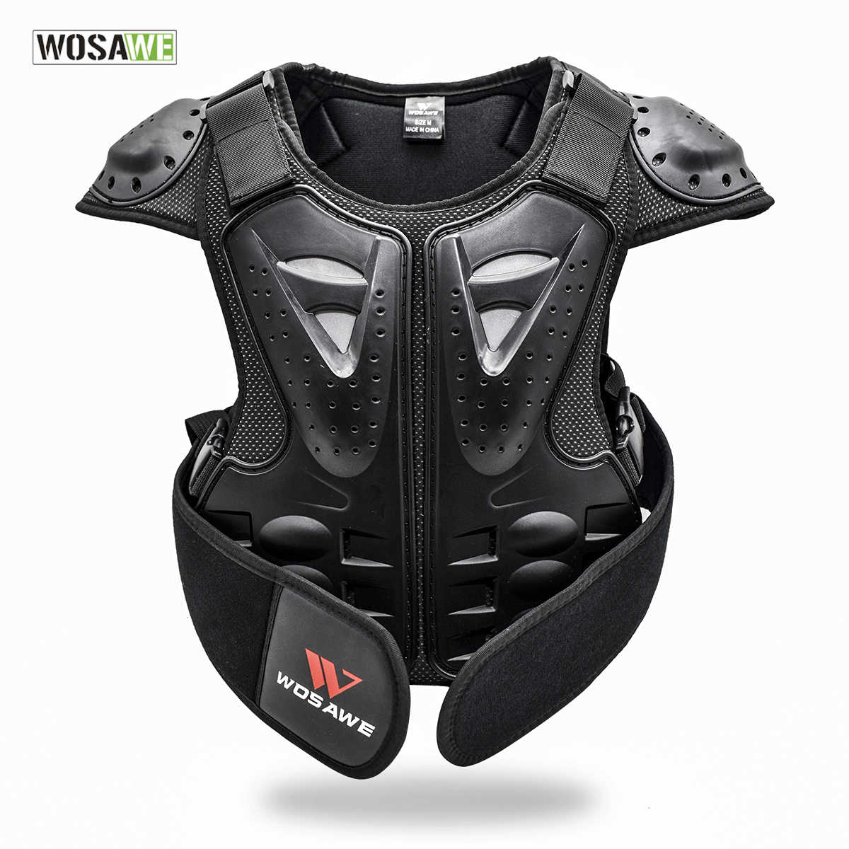 Black - 12 Year Child Motorbike Off-Road Protective Gear Motorcycle Kids Motocross Breathable Safety Body Armour
