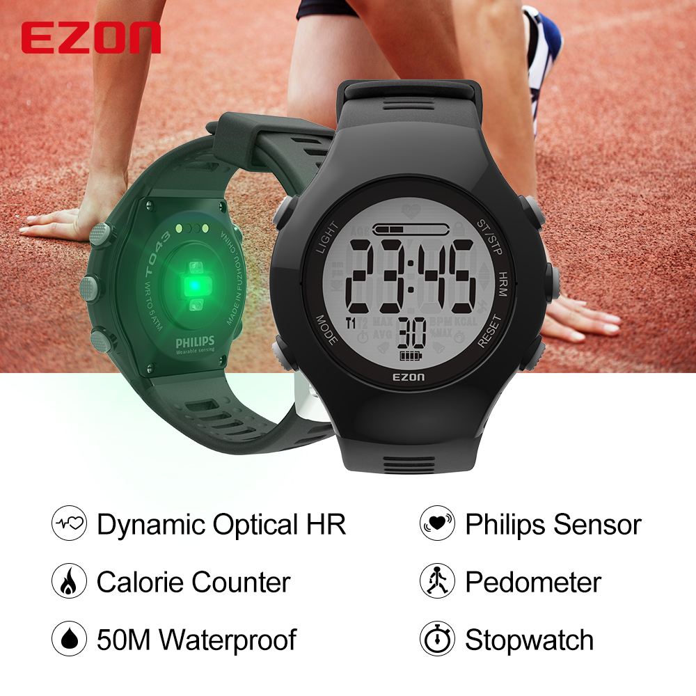 EZON T043 Men Women Sports Digital Watch Optical Sensor Heart Rate Monitor Chronograph Pedometer Calorie Counter Outdoor Running high quality multifunctional gps running sports watch 5atm waterproof pedometer calorie counter digital watch ezon t031a03