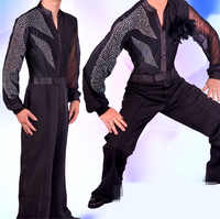 2018 Latin Dance Shirts Mens Ballroom Dancing Wear Adult Standard Tops Performance Competition Clothing Customize Clothes