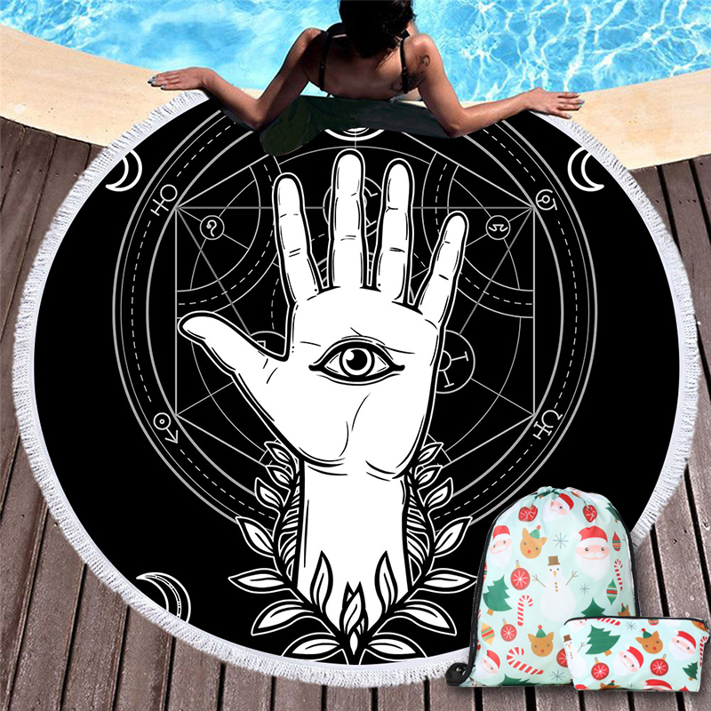 Indian Retro Elements Eyes Palm Beach Towel for Man Sci-fi Cool Hands Hold Earth Beach Towel Travel Gift Christmas backpack