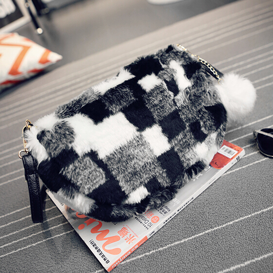 цена на casual velour fur small handbags new fashion ladies party purse women evening clutch famous shoulder messenger crossbody bags