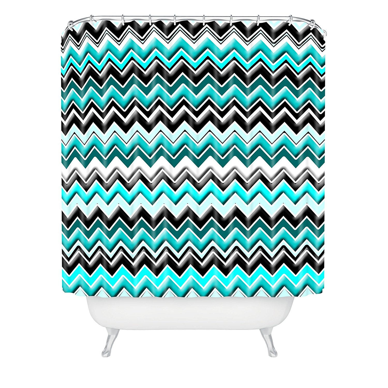 Teal and black shower curtain - Madart Inc Turquoise Black White Chevron Shower Curtain China Mainland