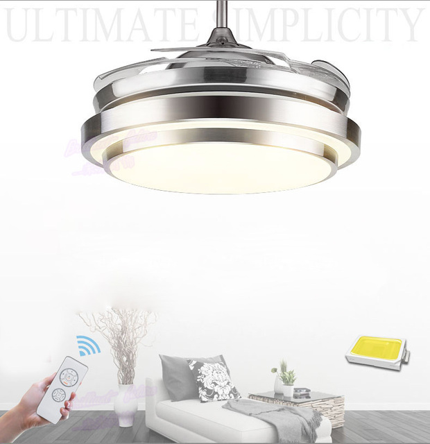 FAN 36/42 INCH 4 Color Changing light Modern LED invisible ceiling fan light remote control ceiling lamp 90/108 cm fans ceiling