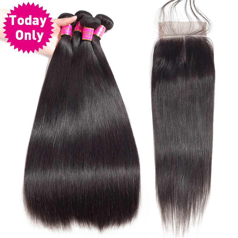 TODAY ONLY Brazilian Straight Hair 3 Bundles With Closure Remy Human Hair Bundles With Closure