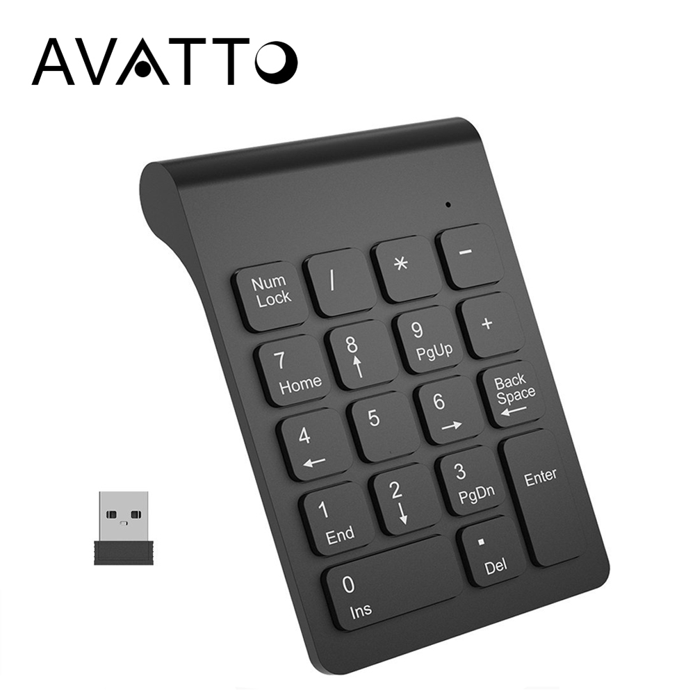 [AVATTO] Small Size 2.4GHz USB Wireless Numeric Keypad Mini Numpad 18 Keys Digital Keyboard for Teller Laptop Notebook Tablets
