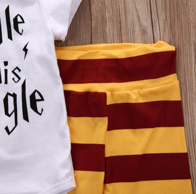 "3PC Wizard Themed Outfit ""Snuggle this Muggle"" - Bodysuit + Striped Pants + Striped Hat 4"