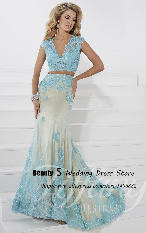 Crop Top Modern V Neck Mermaid 2 Piece Prom Dresses 2015 Light ...