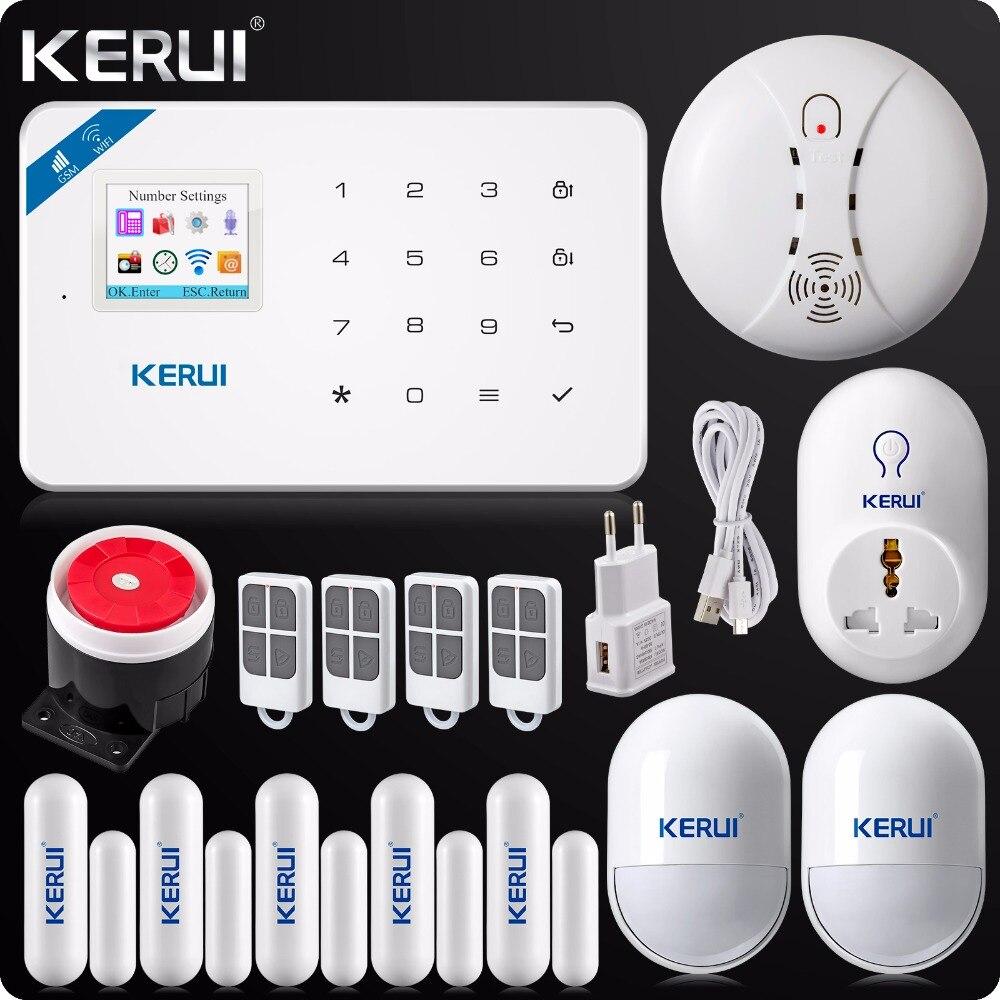bilder für 2017 KERUI W18 Drahtlose WIFI GSM Einbrecher Sicherheitshauptwarnungssystem Android IOS App + Drahtlose Rauchmelder Wifi Smart buchse