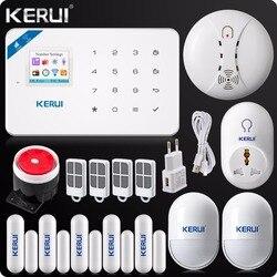 KERUI W18 inalámbrico WIFI GSM de seguridad antirrobo alarma sistema Android App de IOS Detector de humo inalámbrico Wifi inteligente del zócalo