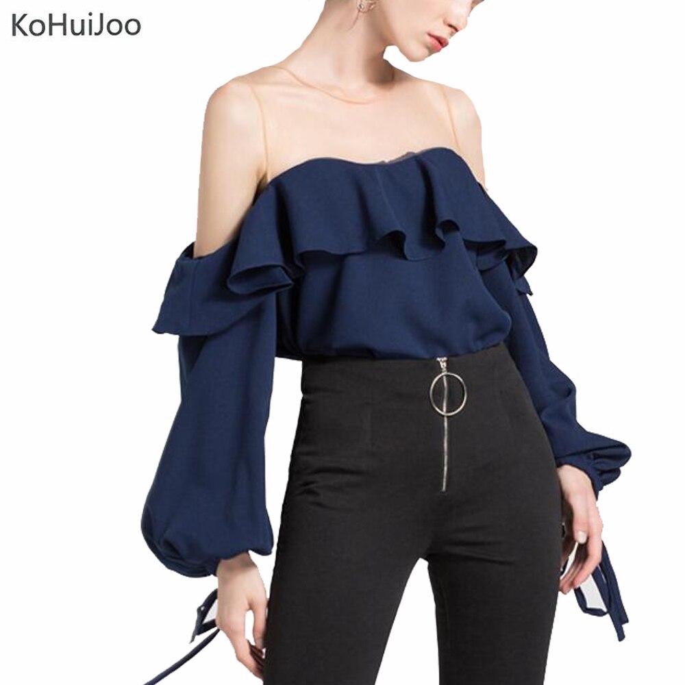 KoHuiJoo 2019 automne Blouses pour femmes Transparent Patchwork manches longues volants Lanter manches élégant chemises de bureau blanc bleu