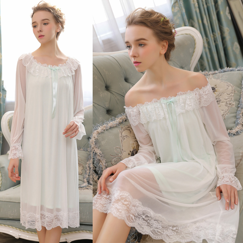 2019 New Autumn Orchard Garden Beach Dress Nightwear Women   Nightgowns     Sleepshirts   Ladies Nightdress Sleepwear Long Sleeve 0291#