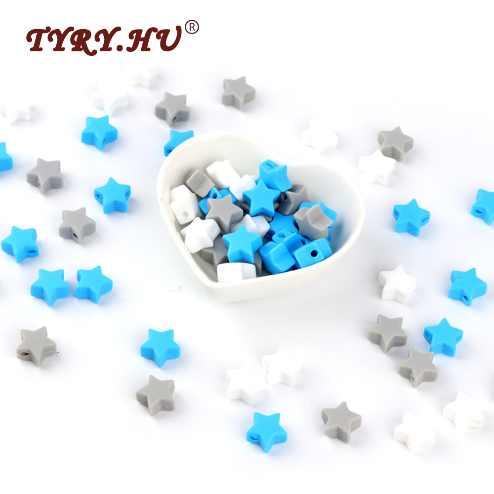 TYRY.HU 30Pcs Star Shaped Silicone Beads BPA Free Chewable Baby Teething Toys Food Grade Baby Teethers Nursing Necklace Charms