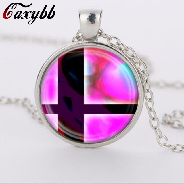 2018 charms necklaces Super Smash Bros Ball Pink and Black Pendant Glass Domechoker pendants Jewelry FTC-N460 2