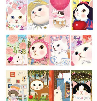 5pcs/lot vintage Cute Cats choo Postcards group cartoon Christmas Card/Greeting Card/ Postcard Gift