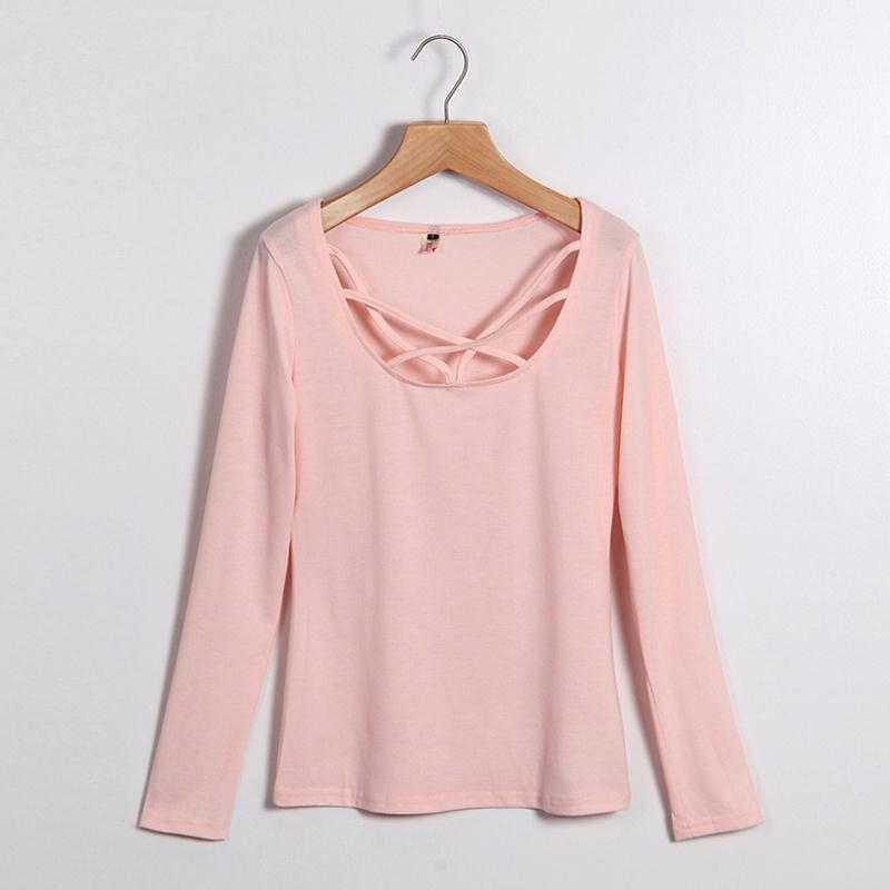 HTB1.f6wMVXXXXcLXpXXq6xXFXXX4 - Autumn T Shirt Women Long Sleeve Slim Fit Solid