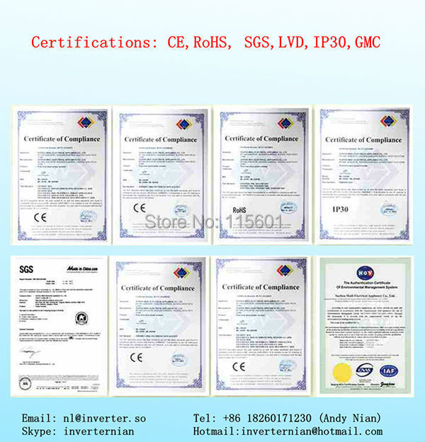 certificate of inverter