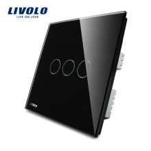 LIVOLO, Wall Switch, 3-gang 1-way, AC110~250V, UK Touch Light Switch VL-C303-62 with LED indicator,Black Crystal Glass Panel