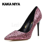 Breathable High Heels Soft Sole Glitter Changeable Slip On Hollow Tip Banquet Fall Classic PU Basic