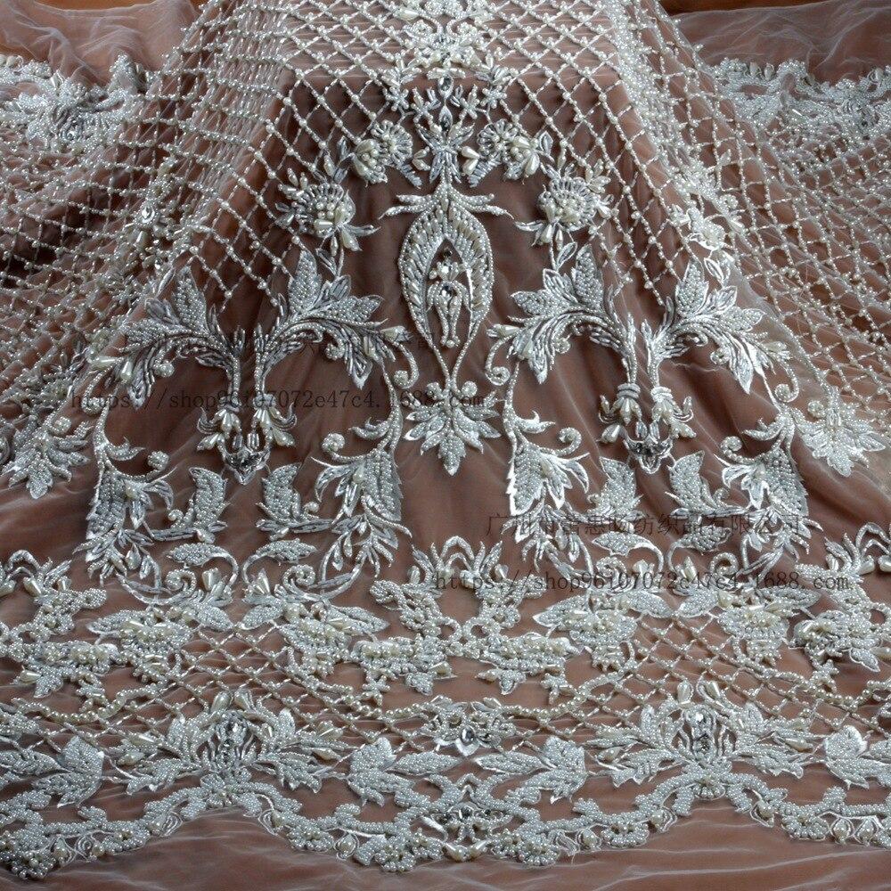 Трехмерное вышитое кружевное полотно Ткань для шитья свадебного платья Материал текстиль Тюль метр