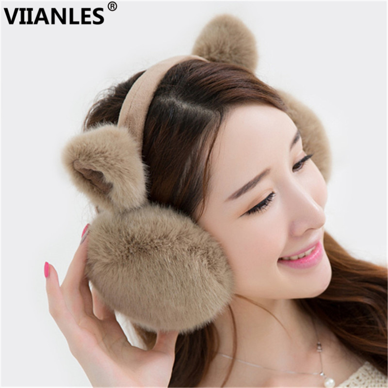 VIIANLES Earmuffs Winter Imitation Rabbit Earlap Autumn Women Warm Ladie's Plush Ear Muff Headband Fur Earmuffs Girl's Earflap
