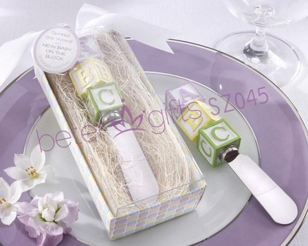 새로운 도착 블록 아기 블록에 알파 블럭 스프레더 100PCS / LOT + 결혼 아기 샤워 부탁 선물
