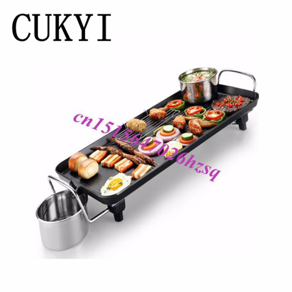 CUKYI Korean Household Electric Ovens Smokeless Nonstick Barbecue  Machine Electric hotplate Teppanyaki Grilled Meat Pan cukyi household electric nonstick skillet 3 4 people small cooker korean multi purpose electric boiler 2 8l electric hot pot