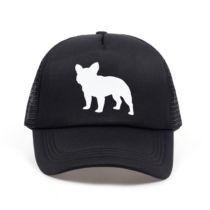 2018 new French Bulldog Letters Print Baseball Cap Trucker Hat For Women Men Unisex Mesh Adjustable Size Black White Drop Ship