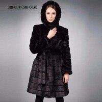 SMFOLW 2018 New Winter Womens Outwear Long Sleeve Mink Fur Coat Long Overcoat Black Women Jacket Plus Size S 6XL Costumize