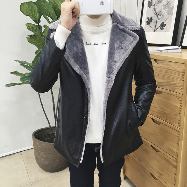 Winter 2016 men's fashion casual thick fur large lapel Slim Men Korean solid color comfortable cashmere leather jacket L-8XL