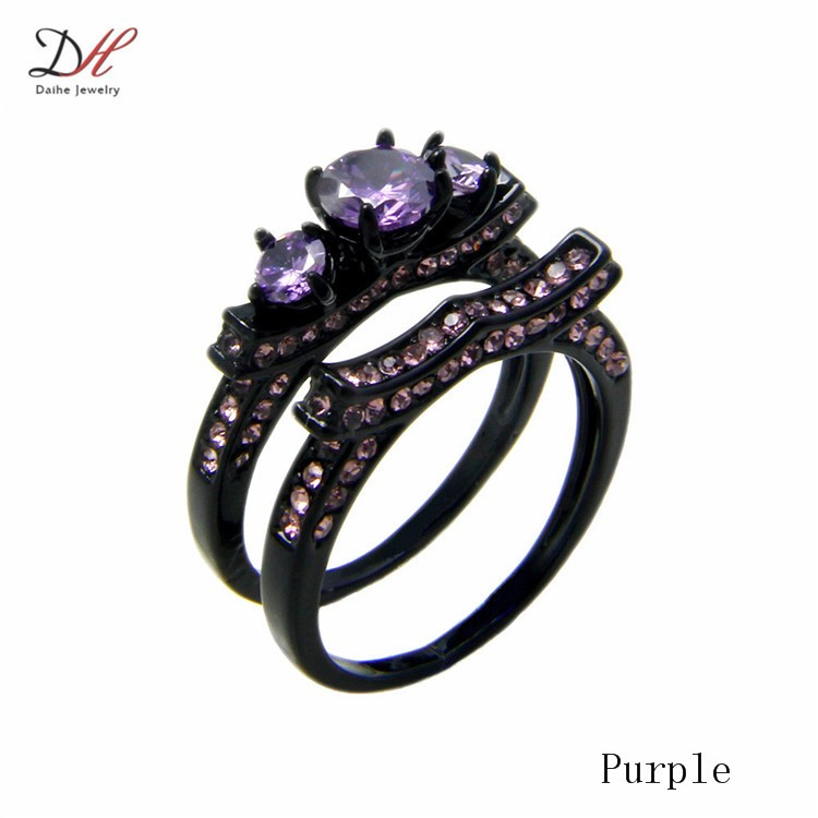 RN3012 2 Violet Crystal Stone Women Ring Set Black Gold Filled