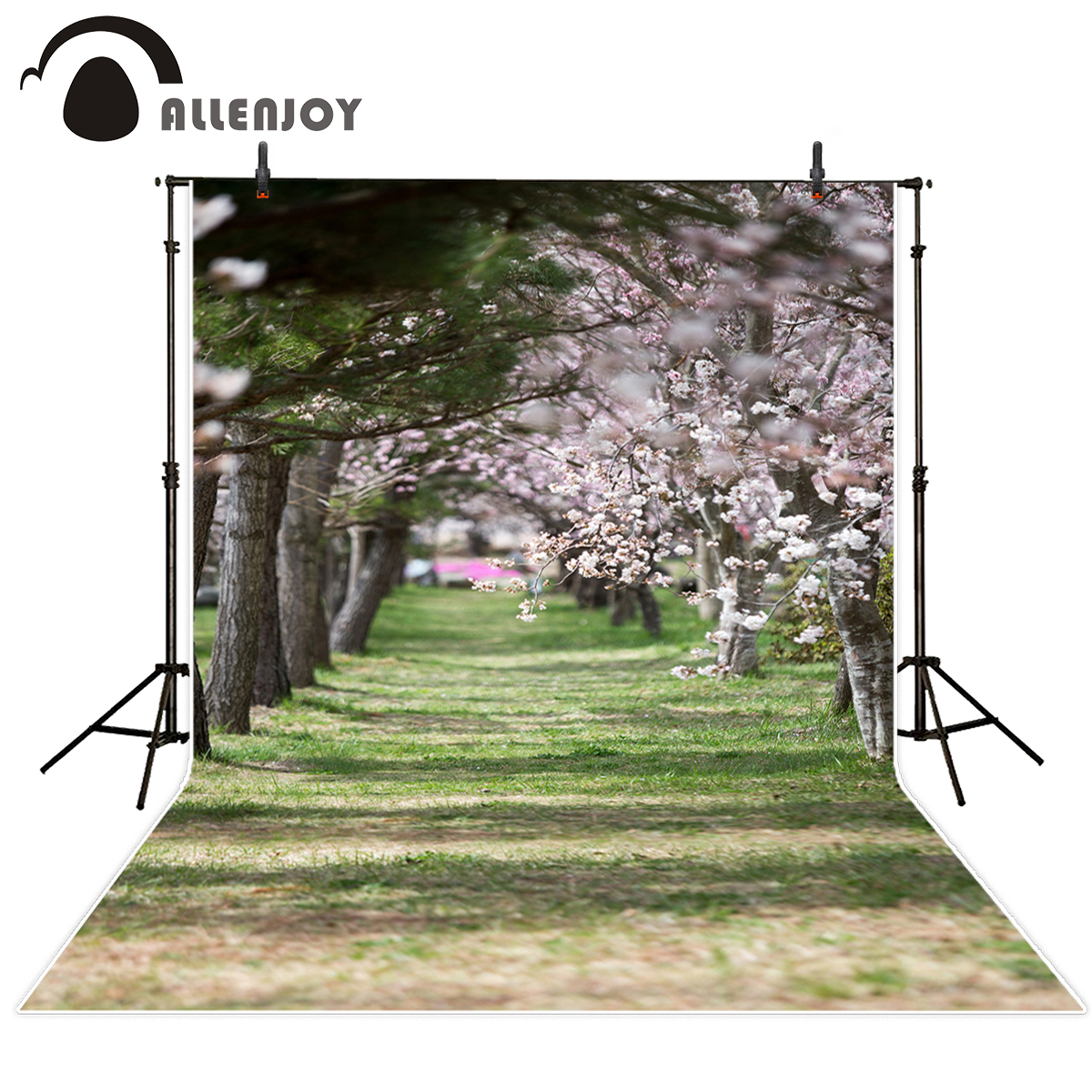 Allenjoy photography background grass lawn and cherry blossoms spring Funds for newborn background for photographic studio hxt 2045 stylish zipper 3 5mm jack in ear stereo earphone w mic for iphone samsung more black
